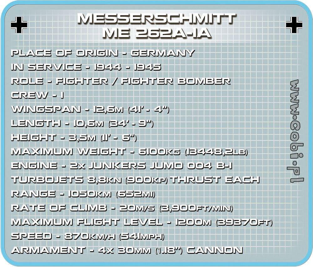 Cobi WW2 5721 - Messerschmitt Me262 A-1a