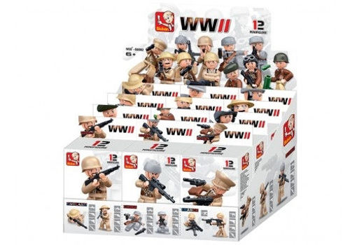 Billede af Boxset Sluban WWII Soldiers Display with 12 Boxes M38-B0582