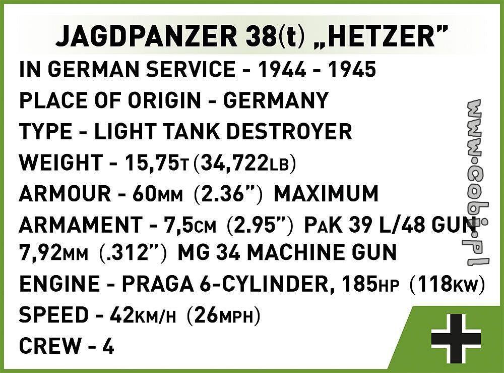 COBI WW2 2558 Jagdpanzer 38 (t) Hetzer