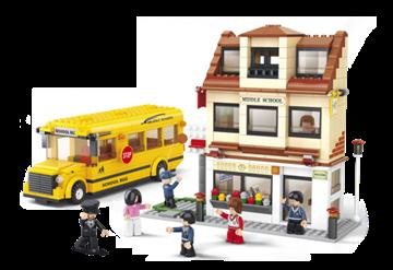 Billede af Skole og skolebus, Sluban Middle School M38-B0333
